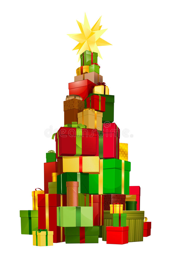 Download Christmas tree gifts stock vector. Image of golden, parcel - 21682485