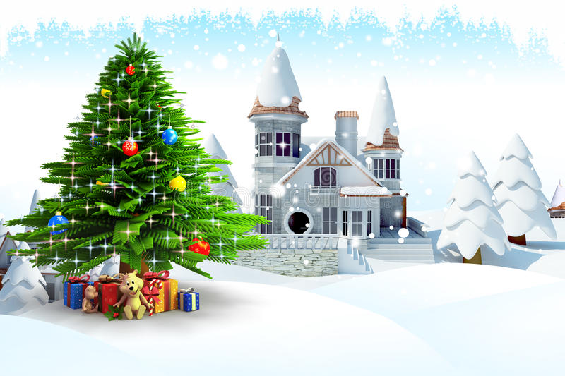 Download Christmas tree with gifts stock illustration. Image of winter - 26827630