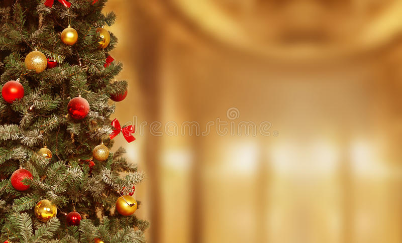 Christmas tree, gifts background. December, winter holiday xmas stock images
