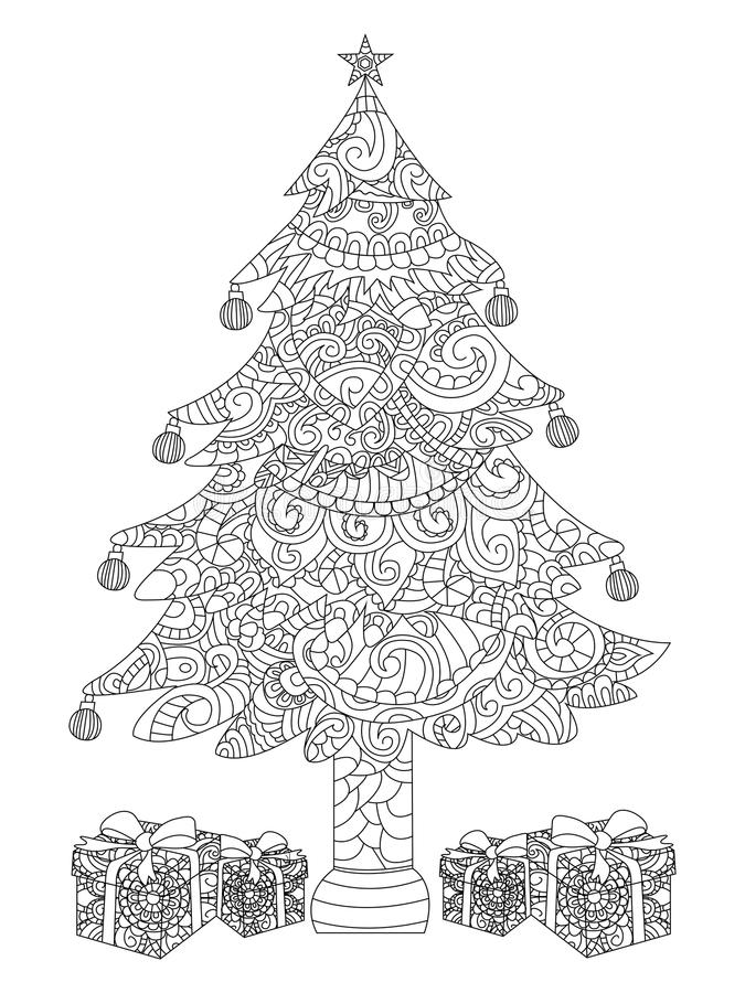 Christmas tree with gifts coloring raster. Christmas tree with gifts coloring book raster illustration. Anti-stress coloring for adult. Zentangle style. Black royalty free illustration