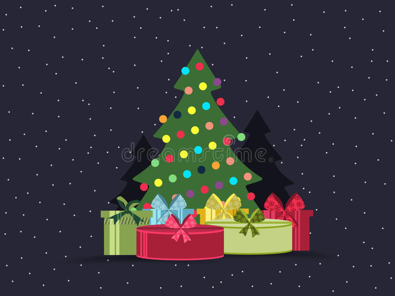 Christmas tree and gifts in flat design style. Vector stock illustration