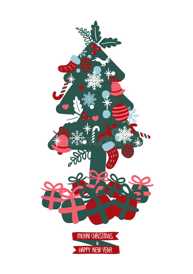 Download Christmas Tree With Gifts Freehand Drawing Stock Vector