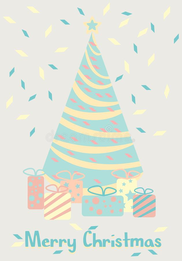 Christmas tree with gifts. Happy New Year. Cartoon vector pastel color . vector illustration