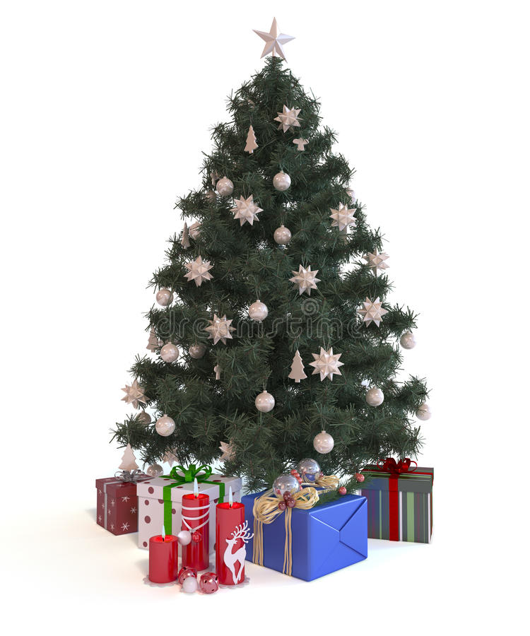 Christmas Tree with gifts. The illustration shows Christmas Tree with gifts stock photo