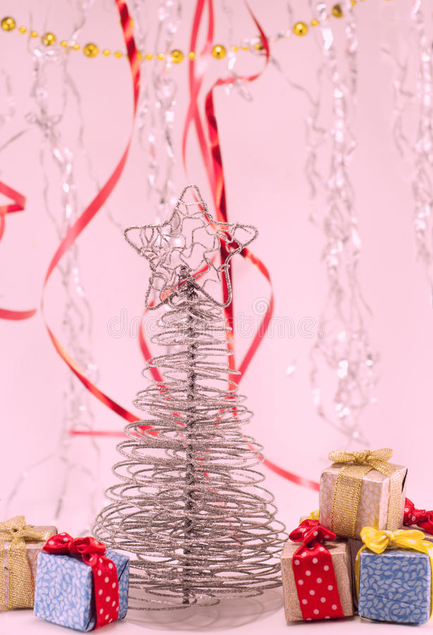 Christmas tree with gifts stock image
