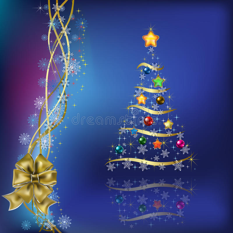 Christmas tree with gifts ribbons stock illustration