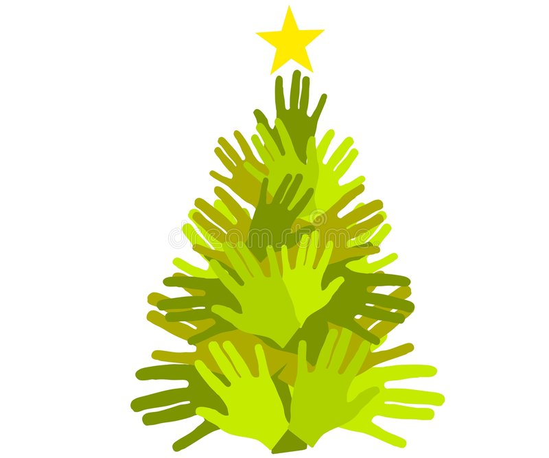 Christmas Tree Giving Hands. An abstract clip art illustration of a Christmas tree made of hands in different shades of green to portray giving, unity, and stock illustration