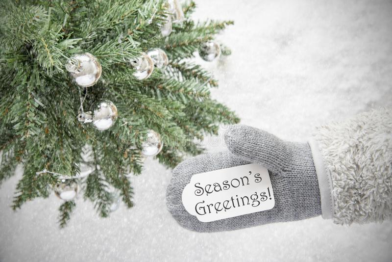 Christmas Tree, Glove, Text Seasons Greetings, Snowflakes. Glove With Label With English Text Seasons Greetings. Green Christmas Tree With Silver Balls On Snow royalty free stock photography