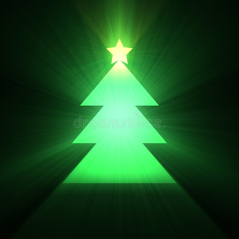 Christmas tree glowing light flare stock illustration