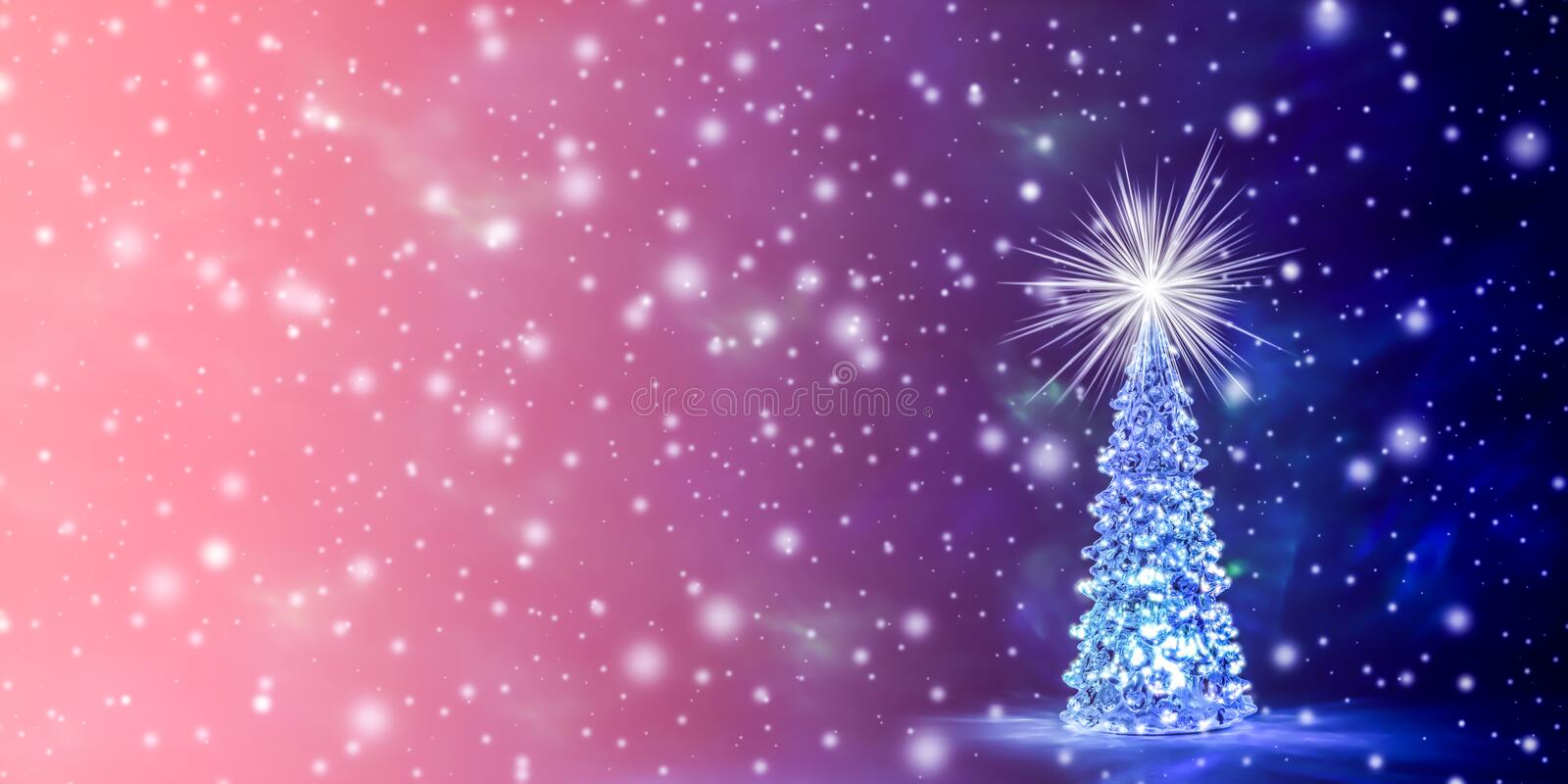 Christmas and New Year`s background in the natural color of the living coral - the color of the year 2019 stock illustration