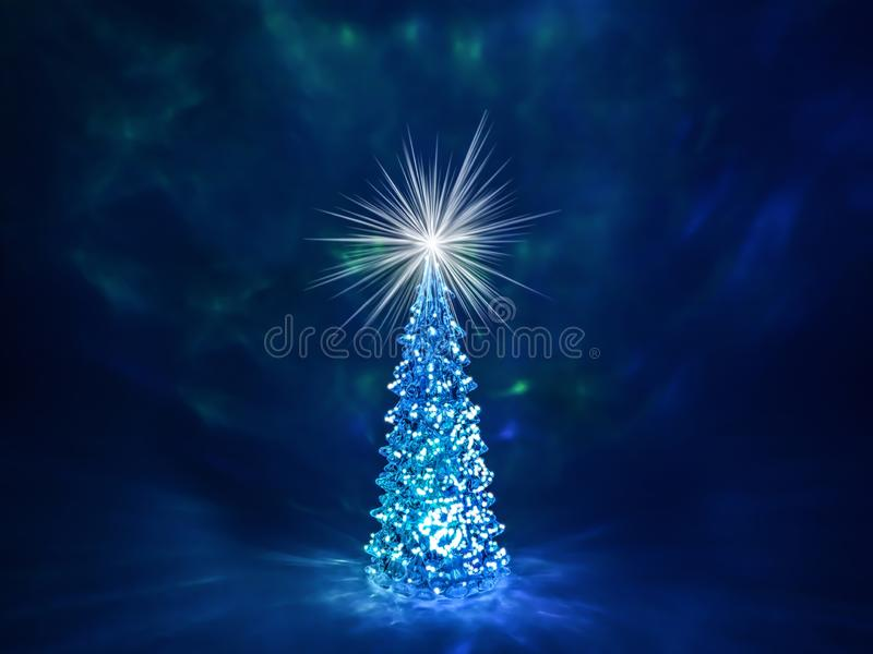 Christmas tree with glowing lights on a garland and a shining star on the crown on a dark blue Northern Lights background. Christmas and New Year`s background royalty free stock images