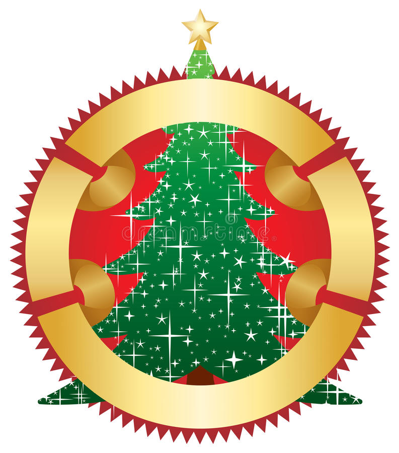 Download Christmas Tree With Gold Banner Stock Photo - Image: 11481580