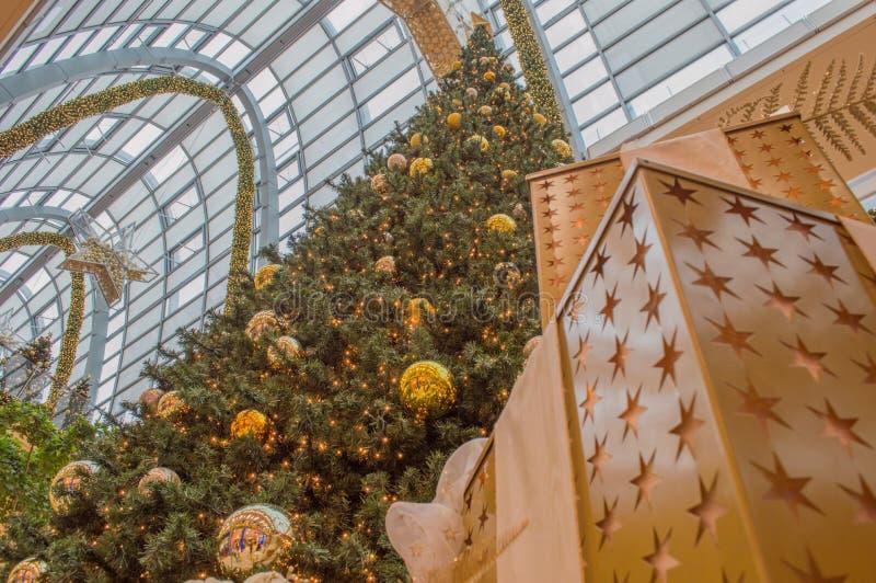Christmas tree and gold christmas ball stock images