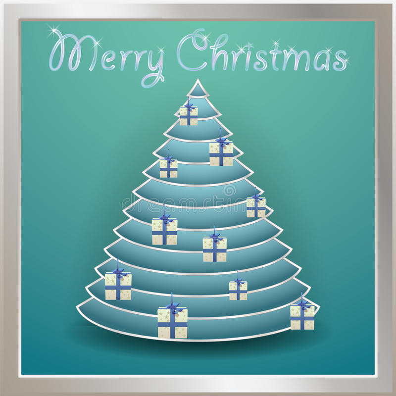 Christmas tree gold decorated with balls, words merry christmas.  royalty free illustration