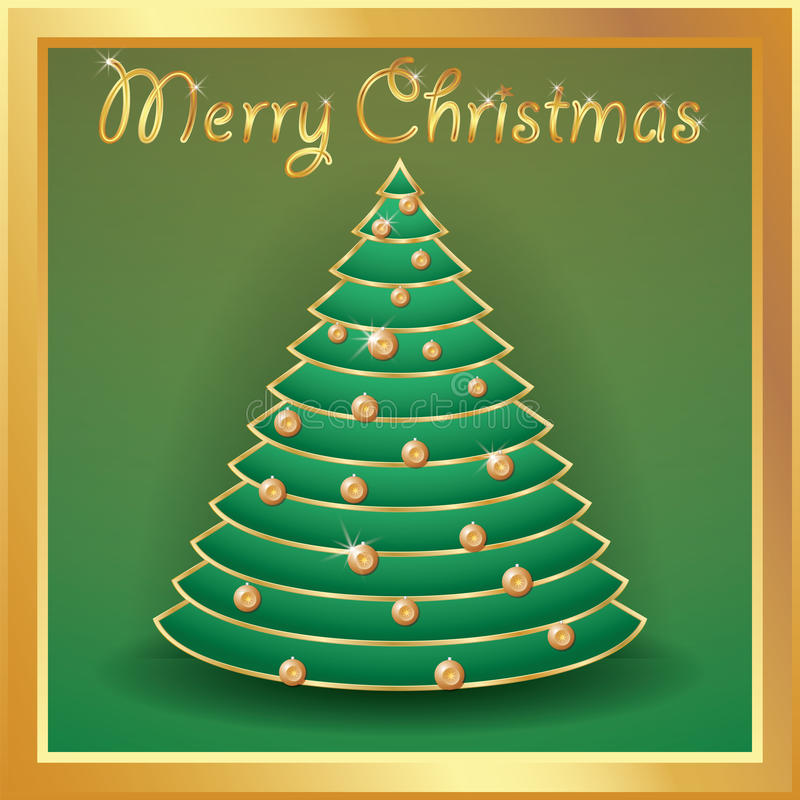 Christmas tree gold decorated with balls, words merry christmas.  stock illustration