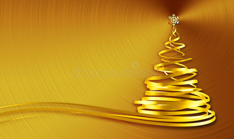 Christmas Tree From Gold Tapes Over Gold Background royalty free illustration