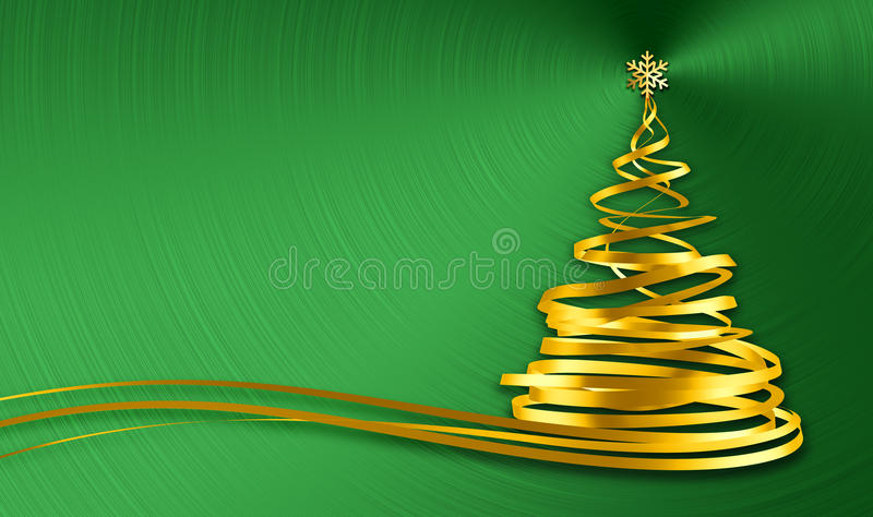 Christmas Tree From Gold Tapes Over Green Metal Background royalty free illustration