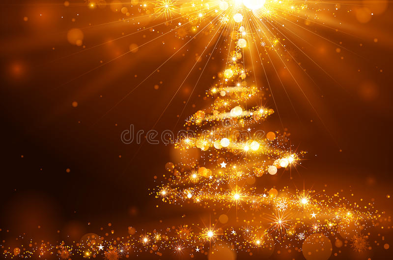 Christmas Tree. Christmas golden background with a magic tree of bright lights and snowflakes