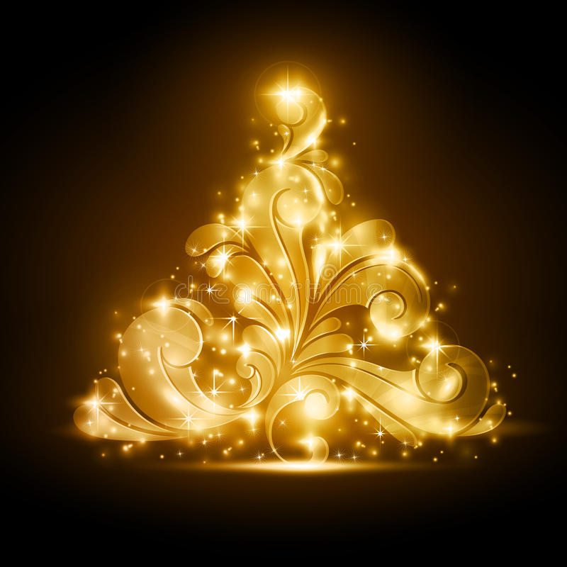 Christmas tree with golden glow and sparkles. Golden Christmas tree made of swirls on a warm dark brown background. Light effects give it a blurry glow and add