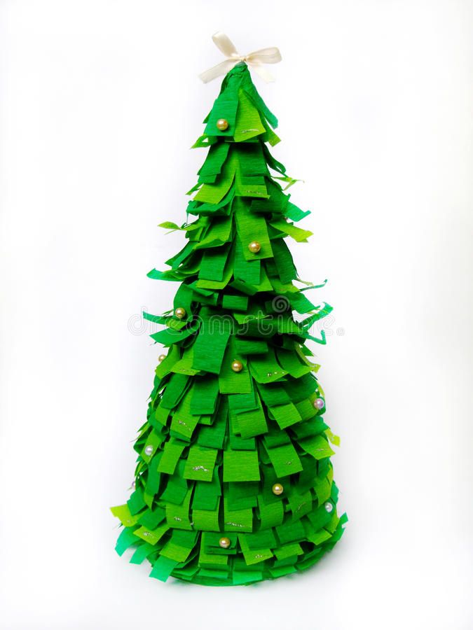 Christmas tree of green paper on a white background. Crafts. royalty free stock photo
