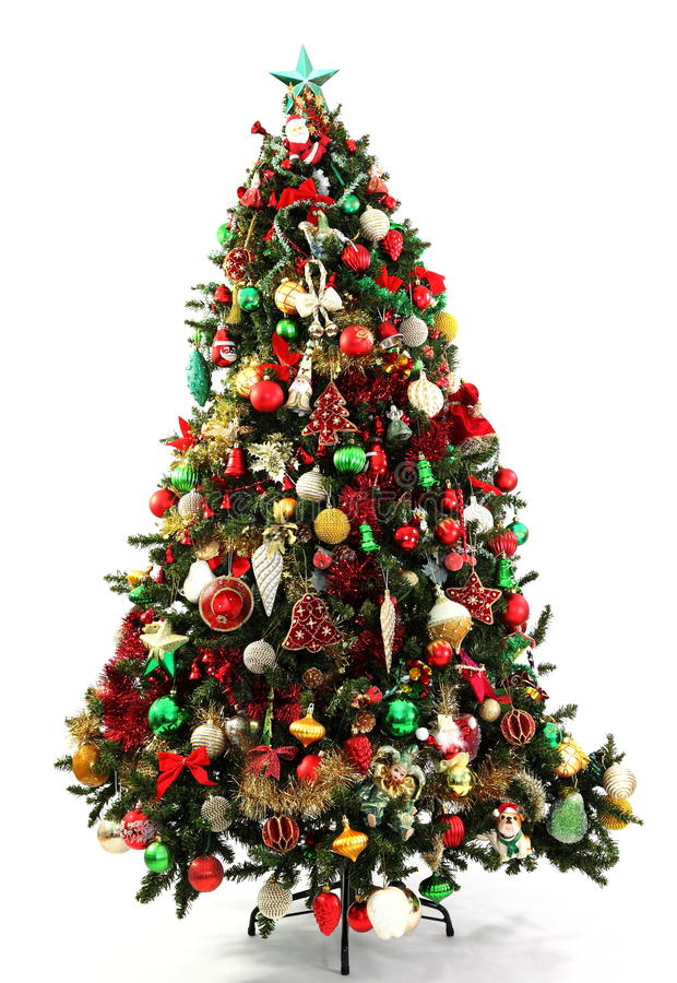 Christmas tree green red and gold stock photo image for Red green gold white christmas tree