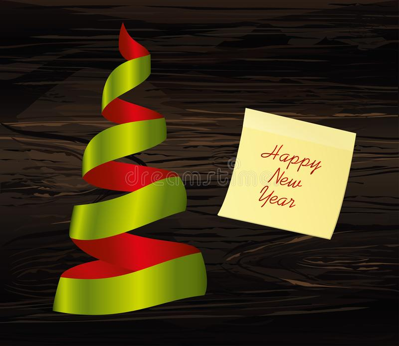 Christmas tree of green and red ribbon. Yellow sheet of paper for notes. Sticker. Vector on wooden background. Greeting card for. The holiday new year. Empty vector illustration