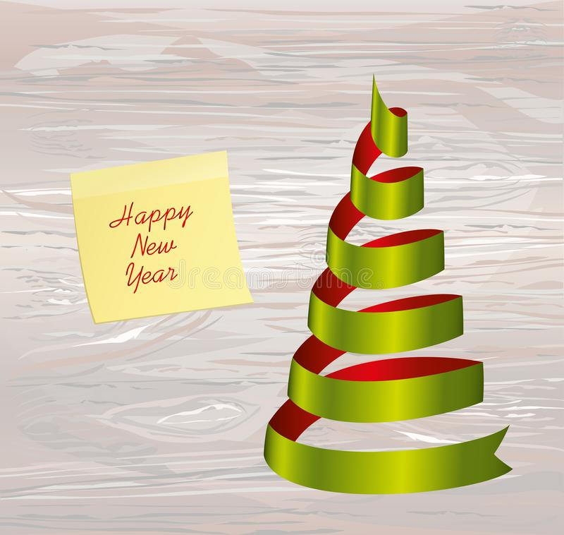 Christmas tree of green and red ribbon. Yellow sheet of paper for notes. Sticker. Vector on wooden background. Greeting card for. The holiday new year. Empty stock illustration