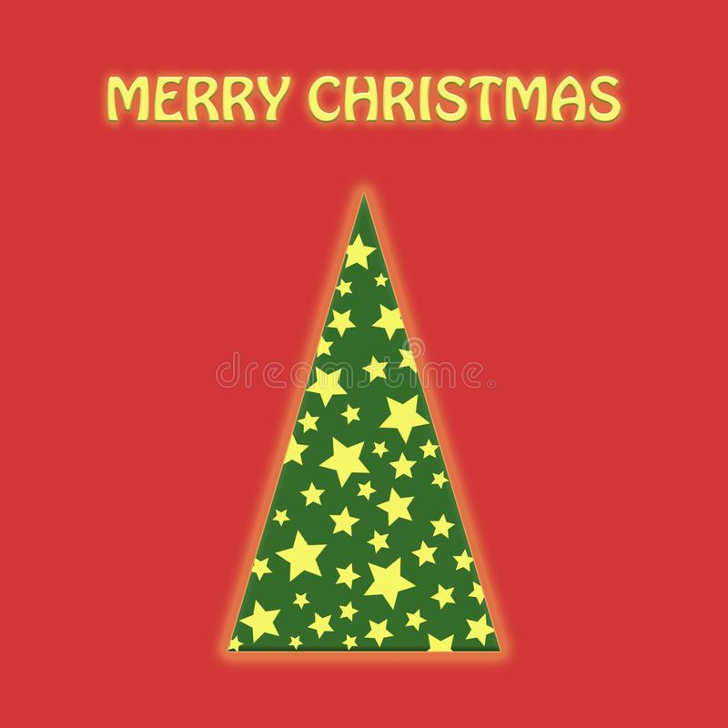 Christmas tree green whith garland red flat lay stock illustration
