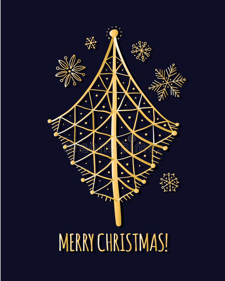 christmas tree greeting card for your design stock vector