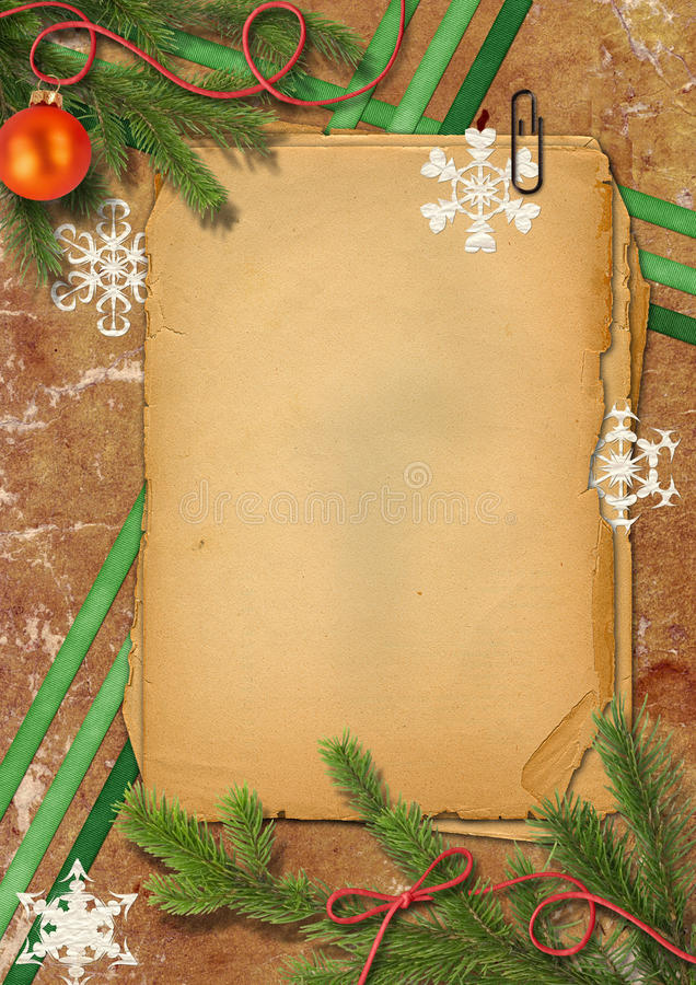 Free Christmas Tree, Grunge Papers And Snowflake Royalty Free Stock Photos - 20591078