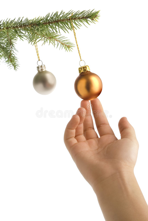 Christmas tree, hand and balls stock photos