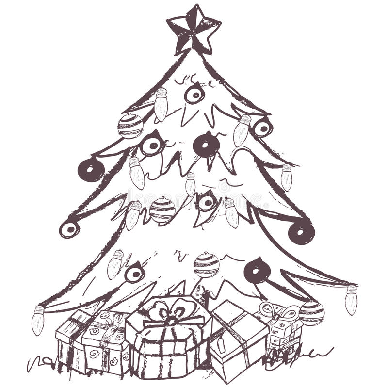 sketch of christmas tree christmas tree stock vector illustration of doodles 7384