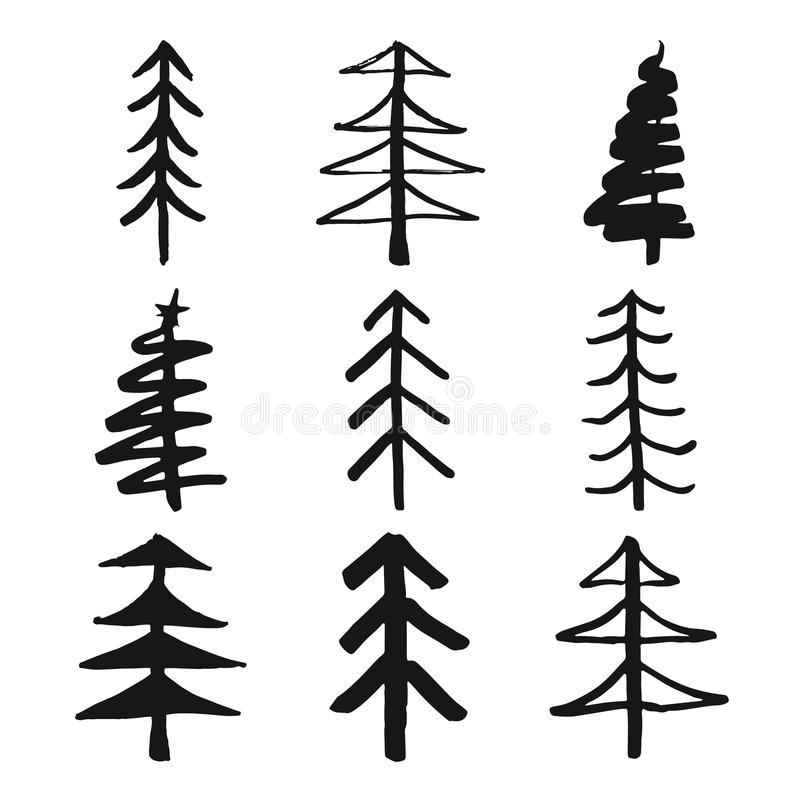 Christmas tree Hand drawn set. Pine trees collection vector Illustration isolated on white background royalty free illustration