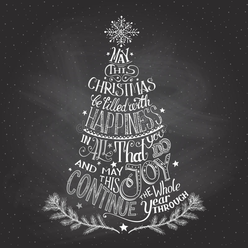 Christmas tree hand-lettering with chalk stock illustration