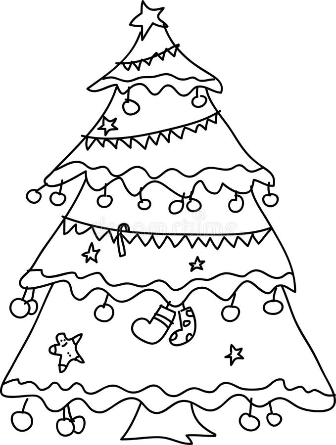 Free Christmas Tree Hand Sketch Stock Photography - 27137772
