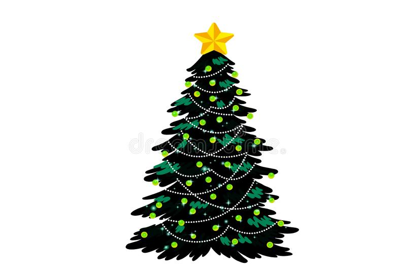 Christmas tree with hanging balls isolated on white background. stock photo