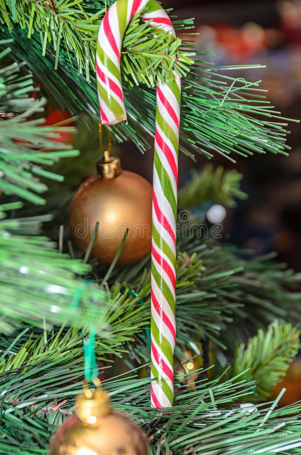 Christmas tree hanging ornament, colored lollipop, close up.  royalty free stock images