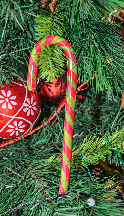 Christmas tree hanging ornament, colored lollipop, close up.  stock photo