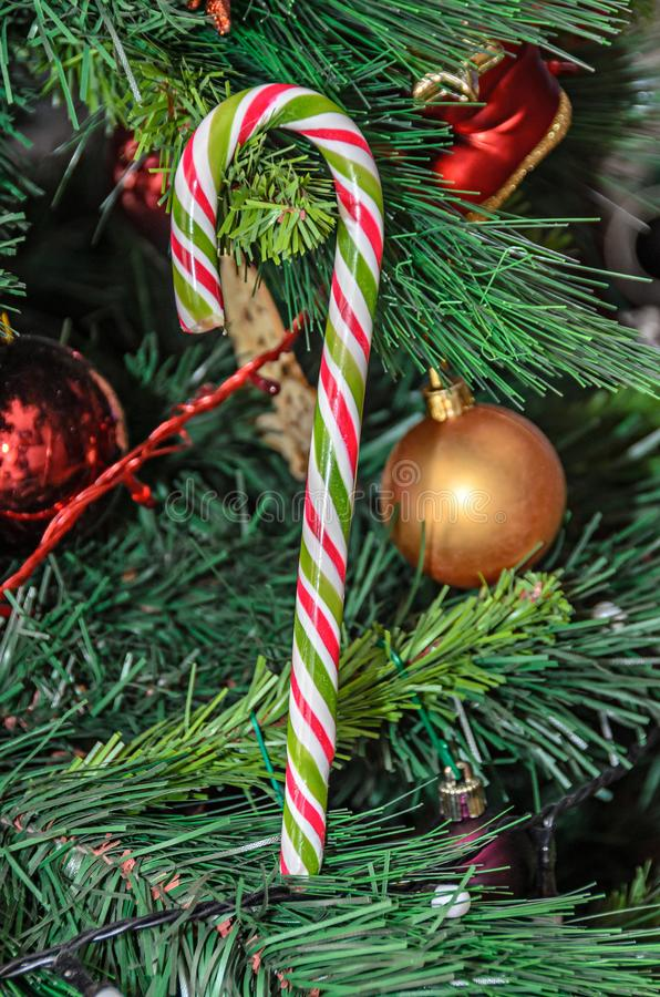 Christmas tree hanging ornament, colored lollipop, close up.  stock images