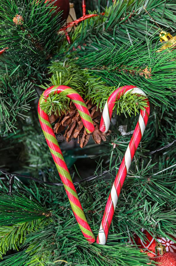 Christmas tree hanging ornament, heart shape colored lollipop, c. Lose up stock image