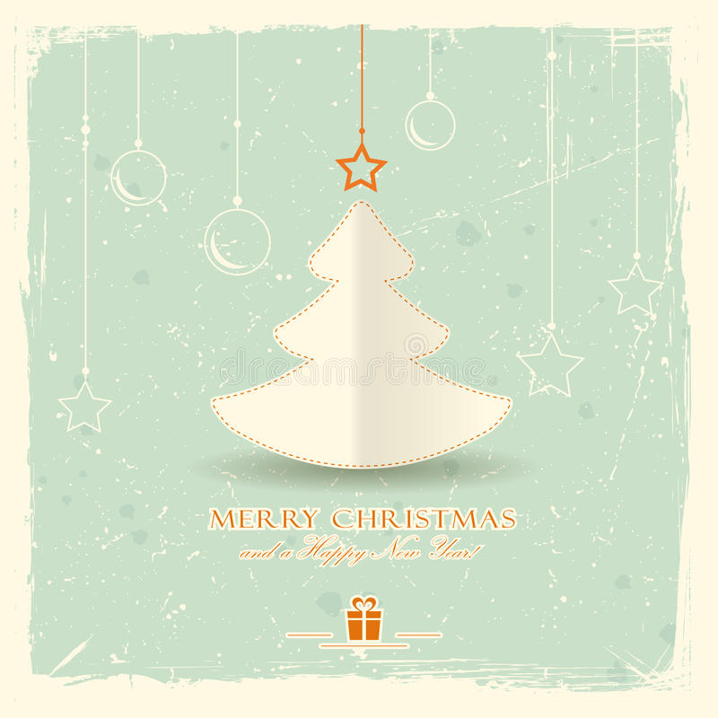 Christmas tree with hanging ornaments stock illustration