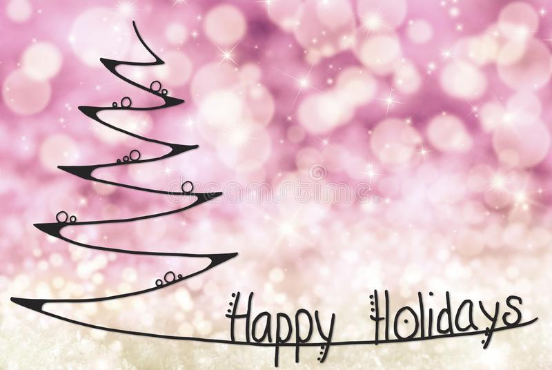 Christmas Tree, Happy Holidays, Light Purple Background vector illustration