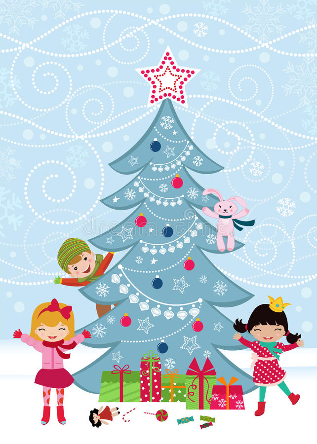 Download Christmas Tree And Happy Kids Stock Vector - Illustration of christmas, girl: 21875416