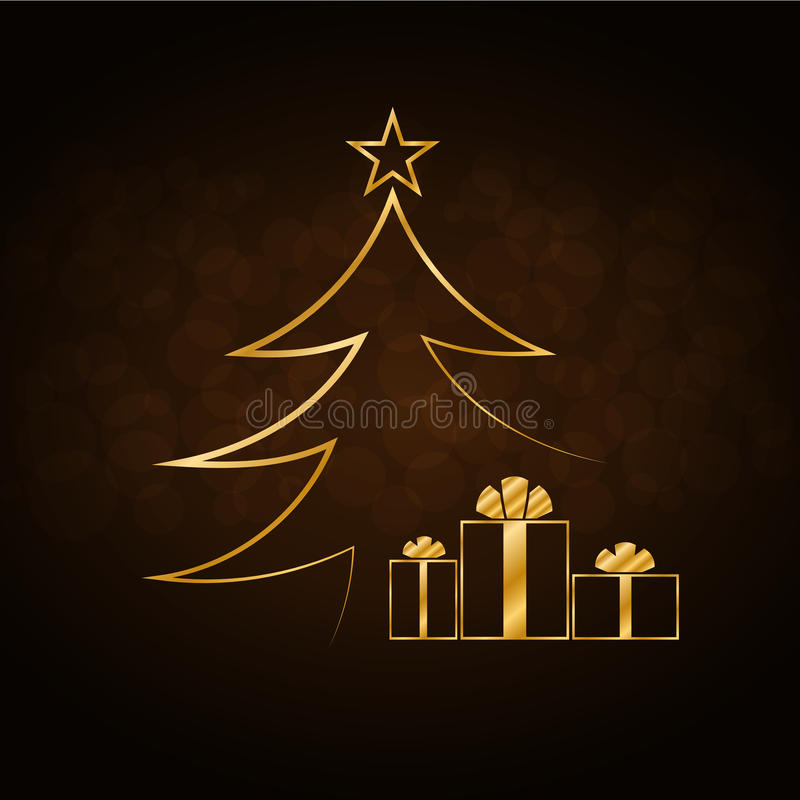 Free Christmas Tree Happy New Year Gold Background Stock Photography - 79644702