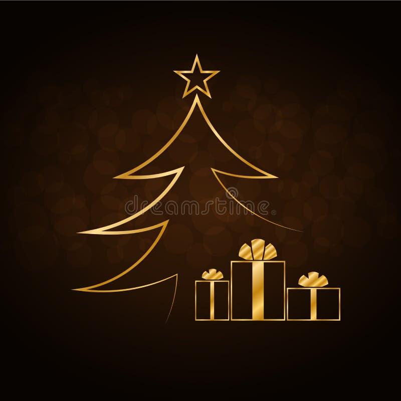 Christmas tree Happy New Year gold background royalty free illustration