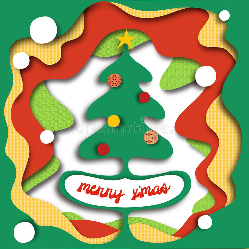 Christmas tree in a hole! (can hide text) royalty free stock photo