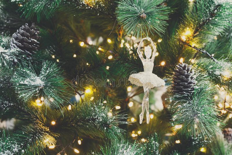 Christmas tree holiday background, closeup stock images