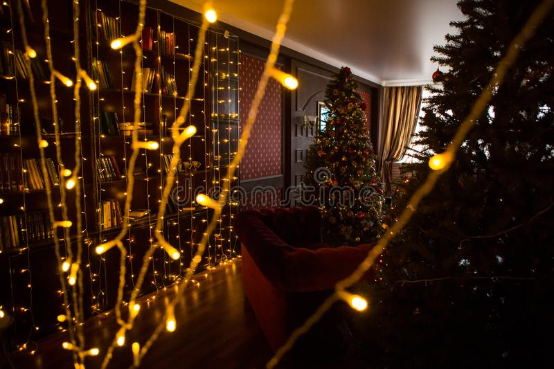 Christmas tree holiday home interior lights garlands, and home decorations. Details of the scenery of the new year. Red berries, Christmas lights, dark room royalty free stock photography