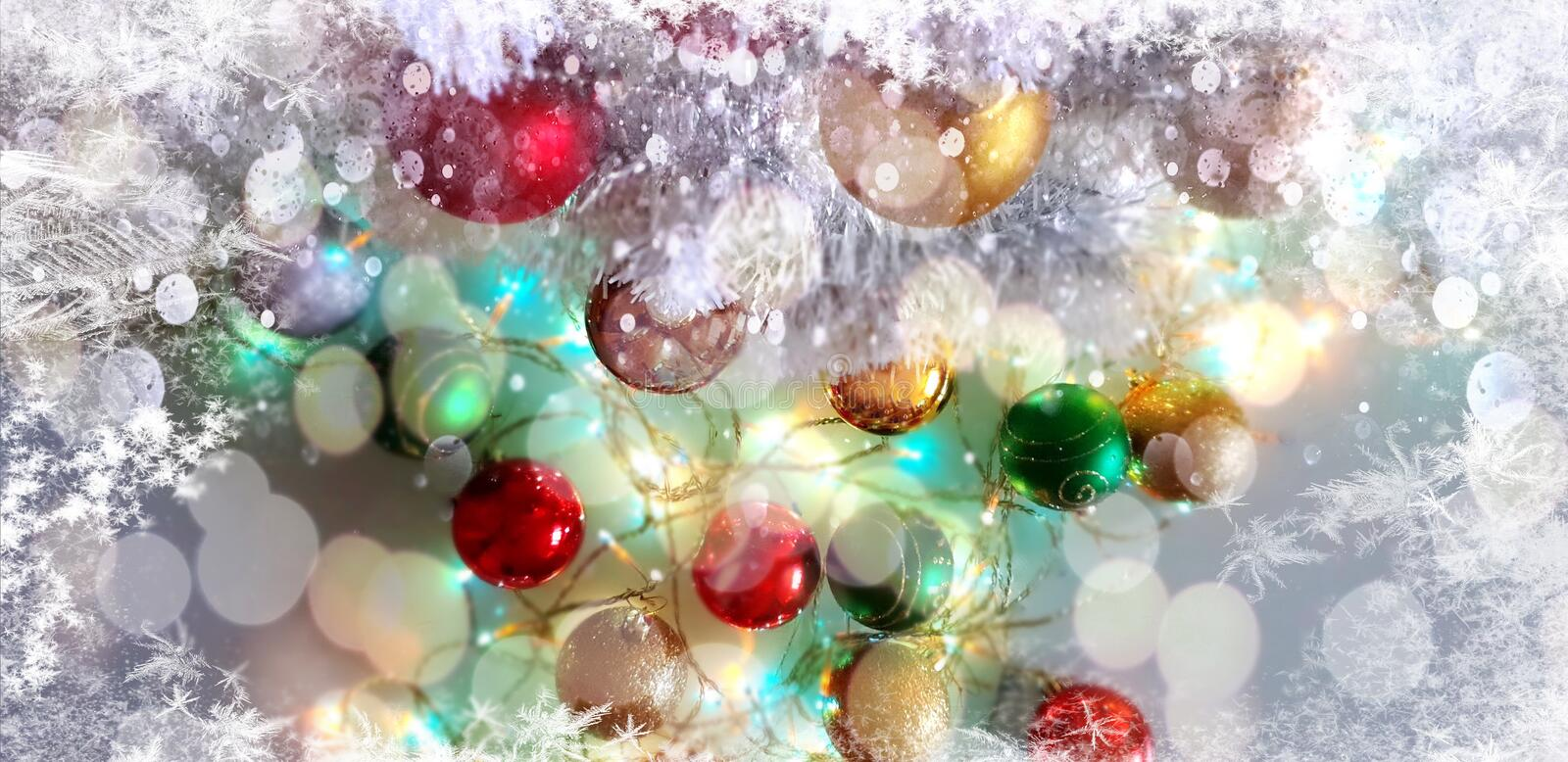 Christmas tree holiday white gold silver red green balls with snowflakes wallpaper light decoration lights colorful new year blurr. Modern Christmas tree holiday stock image