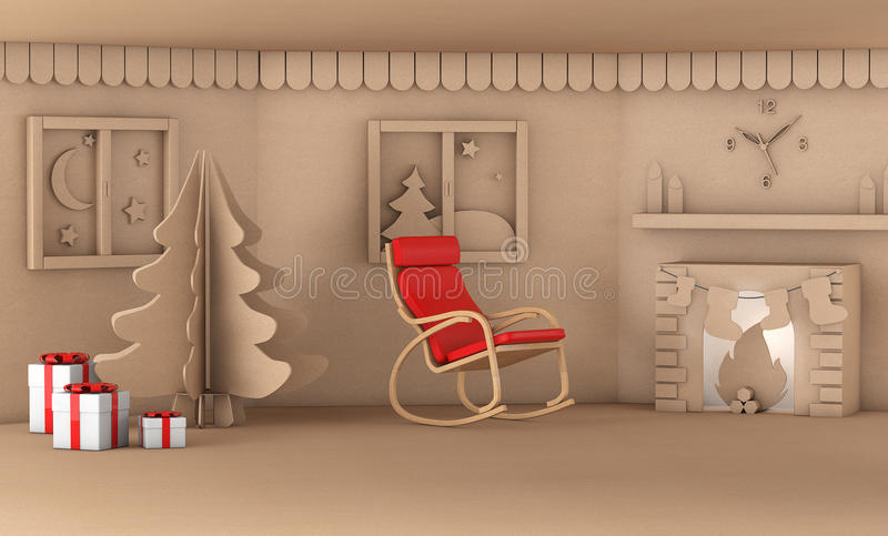 Christmas tree in home living room with fire place 3d render. Ing royalty free illustration